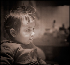 Adam (sigrun th) Tags: old boy portrait bw baby brown cute wow hair blackwhite cool child eyelashes sweet gorgeous awesome great profile award cutie grandson winner duotone curl process capture icelandic monochromia