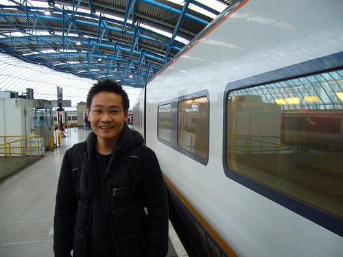 Ben, Eurostar train in background
