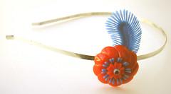 Blue and Orange Vintage Flowers Headband