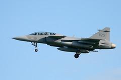 Gripen JAS-39D inbound Lakenheath. (Garysted) Tags: eagle aircraft aviation jets fighters saab armed f15 lakenheath gripen jas39 swedishairforce