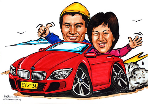 Caricatures couple BMW convertible