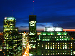 Downtown Montreal at the blue hour (Nino H) Tags: light sunset sky canada building skyline architecture night construction downtown boulevard traffic montral quebec lumire montreal ibm qubec bluehour nuit centreville sunlife cibc themoulinrouge nohdr goldenphotographeraward photoquebec renlvesuqe