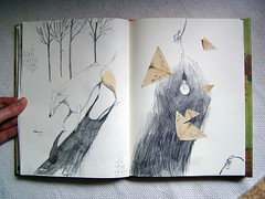 dog and moths (Irina Troitskaya) Tags: collage pencil sketch drawing vincent sketchbook artbookklub