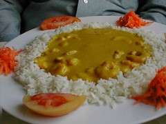 His prawn curry - sweetish, not spicey