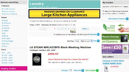 Tesco washing machine search