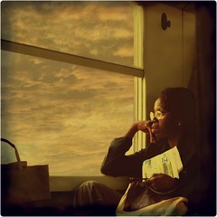 Early Morning Train/Les voyages en train (5) (Osvaldo_Zoom) Tags: woman window clouds train african commuters themoulinrouge artlibre defidefiouiner artlibres alarecherchedutempperdu magicdonkeysbest