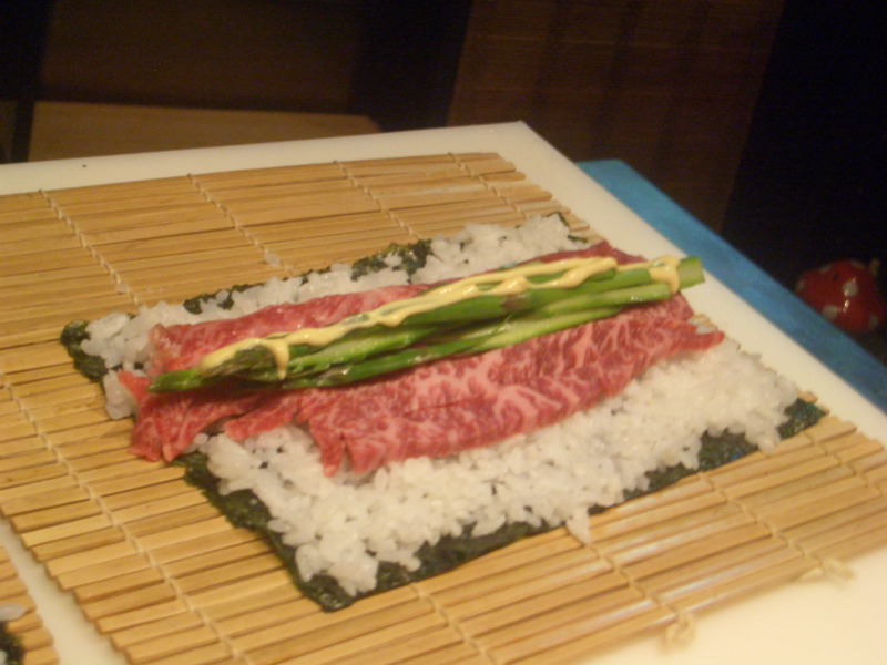 Preparing a wagyu roll
