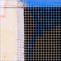 symphony in Bb minor... (barbera*) Tags: wood pink blue window wall screws mesh pastel screening