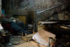 Postcard from Poland. DSC_4447 (Sakuto) Tags: portrait people man wall drunk trash work junk punk working worker