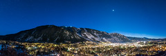 Aspen & Aspen Mountain Night Pano (Jim | jld3 photography) Tags: aspen colorado mountain winter night pano panorama panoramic dusk evening bluehour longexposure stars starry town village gradient snow ski skiing nikon d810 24mm 14g