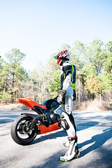 Nick and His Bike (RedPhone_media) Tags: motorcycle cbr 1000 rr cbr1000rr sport bike track trackbike sportbike superbike street rossi moto gp motogp ride leathers knee lighting composition nikon d700 boots
