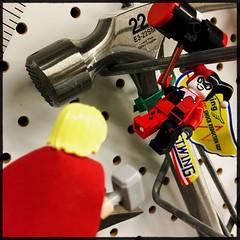 talking hammers (Chris Blakeley) Tags: seattle hipstamatic lego thor mjolnir hardwarestore hammer harleyquinn minifigure minifig