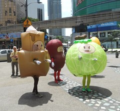 Blow Up Figures (mikecogh) Tags: track shadows cbd kualalumpur monorail creatures kl figures cartoons