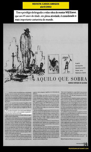 """""""Aquilo que sobra"""" (artigo de Marisa Furtado) - Revista Caros Amigos - abril/2002"""