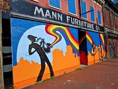 Mann Furniture Co., Richmond, VA (Robby Virus) Tags: street art virginia rainbow mural furniture richmond player company mann sax saxophone
