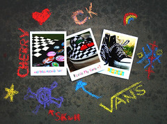 Bored. (S) Tags: white black color colors bag cherry skull star rainbow shoes heart bored ground converse physics vans sucks badges ck chalks cherrykisses