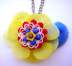 Yellow, Red and Blue Vintage Flowers Necklace