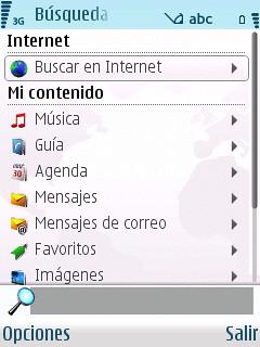 Búsqueda en el N95