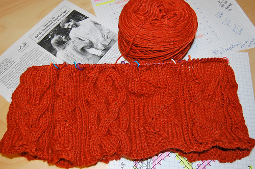 Start of Saddle Shouldered Aran Cardigan