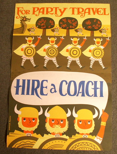 For party travel hire a coach Vintage Viking Travel Poster