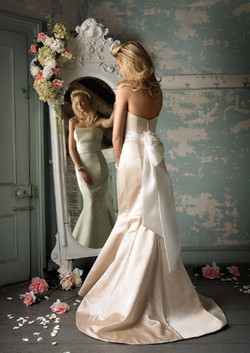 A Blond Sexy Bridal Wearing A Stunning and Sexy Wedding Gown