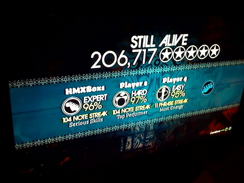 Jonathan Coulton's final score, backed by the Harmonix team