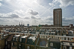View from the roof (pixelhut) Tags: london skyline cityscape rooftops pimlico batterseapowerstation sw1 gasometer glastonburyhouse