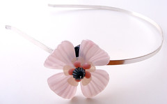 Pink, Silver and Black Vintage Flowers Headband