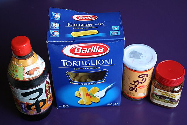 Ingredients to the fusion pasta