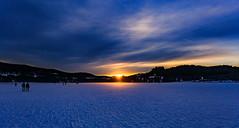 Frozen lake sunset (simonpe86) Tags: deutschland sunset see sonnenuntergang schwarzwald dusk rays sonnenstrahlen blue romance beautiful blau sky titisee romantik himmel gefroren clouds