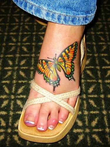 Hand Tattoo · Sakrefix · Left Foot Tattoo - Monarch Butterfly
