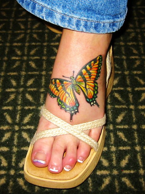 Left Foot Tattoo - Monarch Butterfly