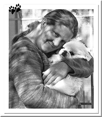 MY DAUGHTER JEN WITH LUCY - THANK YOU! (fantartsy JJ *2013 year of LOVE!*) Tags: family love dogs beauty thanks children blessings artsy littledog blackandwhitephotography peke grownchildren perfectpeke