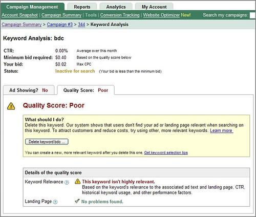 Google Keyword Analysis page