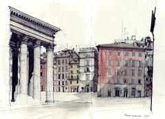 Piazza Rotunda - Pantheon (Flaf) Tags: rome pencil square drawing antique cupola residential coloumn artbookklub