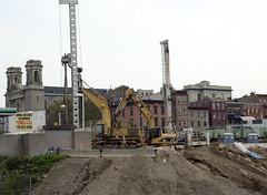 Vanderbilt Yard construction (threecee) Tags: newyork church brooklyn construction atlanticavenue machine gasstation equipment mta prospectheights bp lirr pacificstreet vanderbiltavenue atlanticyards forestcityratner vanderbiltyard tracycollinsphotography brooklynian block1121lot47 dsc4543