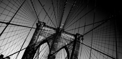 Brooklyn Bridge (PandaZam!) Tags: bridge blackandwhite usa newyork brooklyn flag arches cables manhatten johnroebling 30d washingtonroebling emilyroebling