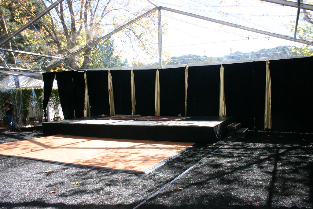 Set Up Day Dance floor stage and back drop
