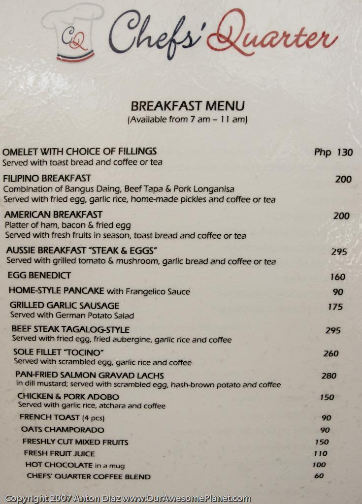 The Breakfast Menu Items