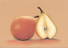 Pears (CGoulao) Tags: stilllife orange art fruit catchycolors painting paper paint artist arte pastel kunst peinture fruta canson pear stillife pintura painture artista poire artiste naturamorta   naturezamorta pra  10faves     flickrphotobased