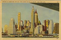 Looking at downtown skyline from under Brooklyn Bridge, New York City (I'mNotMyself) Tags: brooklynbridge postcards