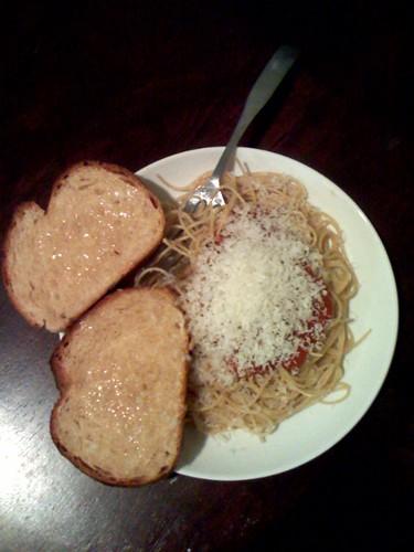 bread with spaghetti