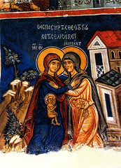 The Visitation of Virgin Mary to Elizabeth (jandudas) Tags: mountains church island europe mediterranean religion cyprus eu unesco hills cipro wallpainting troodos zypern frescoe kbrs chypre 5photosaday ciprus    peachofashot