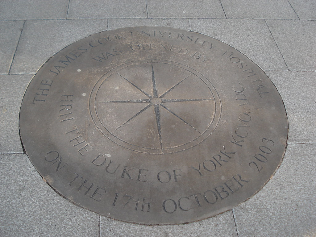 Stone commemorating the opening of James Cook University Hospital Middlesbrough, 17th October 2003. This is the same day the Endeavour replica sailed up the River Tees to Middlesbrough Dock, Middlehav