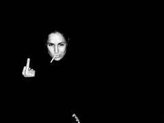 finger (yell saccani) Tags: portrait bw woman selfportrait black me face photoshop israel alone break smoke smoking fumar ei