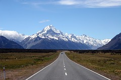 Mount Cook - The quiet roads of New Zealand (Heaven`s Gate (John)) Tags: travel newzealand vacation sky snow mountains nature tarmac landscape highway driving quiet traffic roads idyll breathtaking blacktop mountcook 50faves 10faves johndalkin heavensgatejohn topf25faves onlythebestare spiritofphotography freelandofthelongwhitecloud