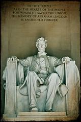 Honest Abe (clement :: tang) Tags: park usa d50 50mm washingtondc nikon lincolnmemorial nikkor 50mmf18d abrahamlincoln textured honestabe uspresident primelens ninianlif clementtang