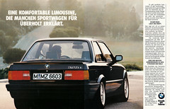 Reklame BMW 3er E30 (1988) (jens.lilienthal) Tags: auto old cars car print advertising reclame ad voiture advertisement advert older bmw autos werbung 325i 325 reklame e30 voitures anzeige 3er