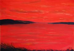Sunset at the seaside (Olaf Weichert) Tags: sunset red painting seaside artwork meer acrylic sonnenuntergang canvas acryl küste leinwand gemälde
