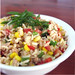Tuna and brown rice salad, with assorted chopped vegetables